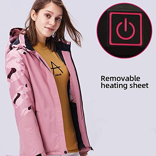 Roboraty USB Verwarming Jas Vrouwen, Outdoor Elektrische Jas, Afneembare Tweedelig, Winddicht Houd Warm, Wandelkleding, Verwarmde Kleding Voor Camping Rijden Ski, 10XL M roze