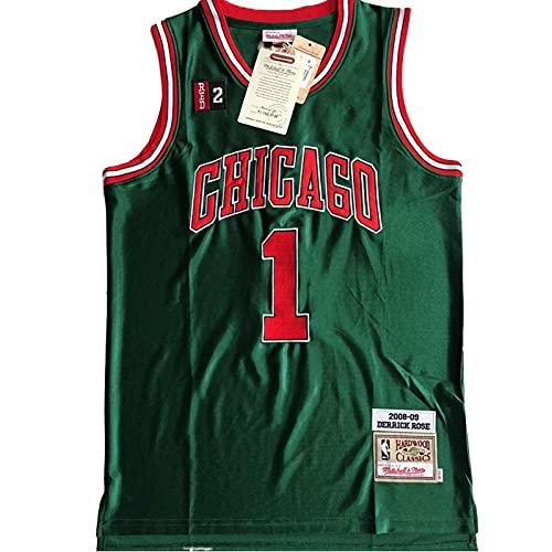 KKSY Camisetas de Hombre Chicago Bulls # 1 Derrick Rose Camisetas de Baloncesto Chaleco Transpirable Retro Camiseta Sin Mangas Swingman,Green,XL