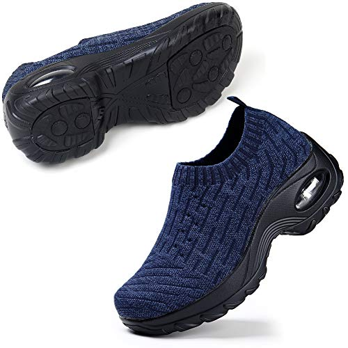 STQ Walking Shoes for Women Comfortable Lightweight Sneakers Wide Fit Trainers Breathable Mesh Running Road Shoes 9 UK Blue