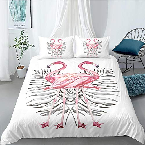 ACVMF Printed Duvet Cover Two Flamingos Bedding Set 3 pcs (1x Duvet Cover and 2 x Pillowcases) 100% Polyester Microfiber Quilt Cover Sets For adults children 55.12 x 78.74 inch
