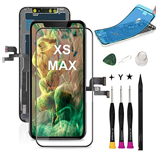 COASD Compatible with iPhone Xs MAX Screen Replacement LCD Digitizer Display Touch Screen Assembly with 3D Touch Model No. A1921 A2101 A2102 A2103 A2104 + Screen Protector + Waterproof Glue (Black)