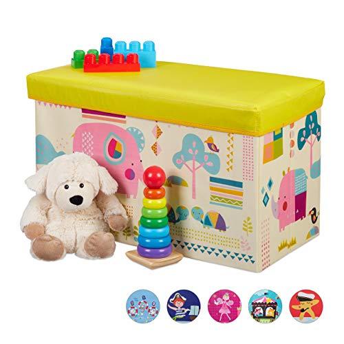 Relaxdays Sitzbox Kinder, Faltbare Aufbewahrungsbox mit Stauraum, Deckel, Motiv Tiere, Jungen & Mädchen, 50 Liter, gelb