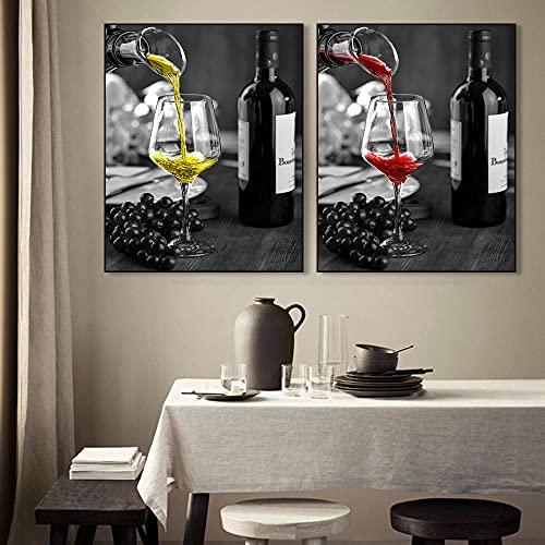 YCHND Cartel de la Lona del Vino Arte de la Pared Retro Impresiones de la Copa de Vino cuadrode la Lona para la Cocina clásica Comedor Decoración de la Pared del hogar Imagen 40x60cmx2 Sin Mar
