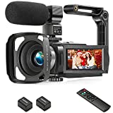 Camcorder 1080P Video Camera YEEHAO 36MP 3.0 Inch IPS Touch Screen IR Night Vision 16X Digital Zoom Camcorder with External Microphone Handheld Stabilizer Remote Control
