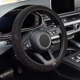 KAFEEK Elastic Stretch Steering Wheel Cover, Universal 15 inch, Microfiber Breathable Ice Silk, Anti-Slip, Odorless , Easy Carry, Black