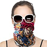 UV Resistant Face Mask Scarf Bandana, Seamless Dust Proof Neck Gaiter for Hiking Cycling, Unisex Kids Anime Japanese Manga Goku Super Saiyan God Rave Headwear