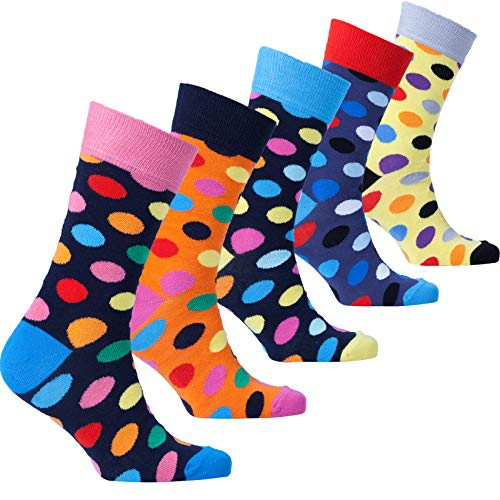 Socks n Socks-Men's 5-pair Luxury Cotton Polka Dotted Dots Dress Socks Gift Box