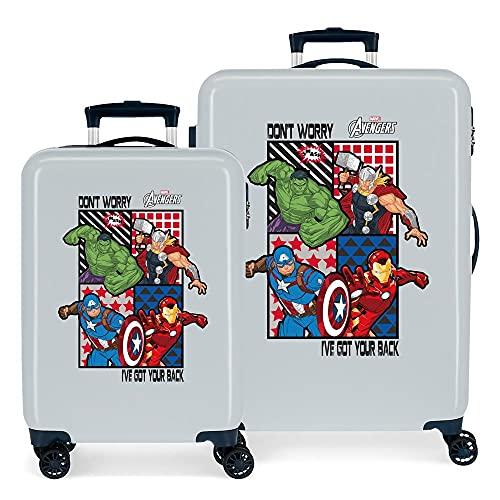 Marvel Los Vengadores All Avengers Juego de Maletas Azul 55/68 cms Rígida ABS Cierre de combinación Lateral 104 6 kgs 4 Ruedas Dobles Equipaje de Mano