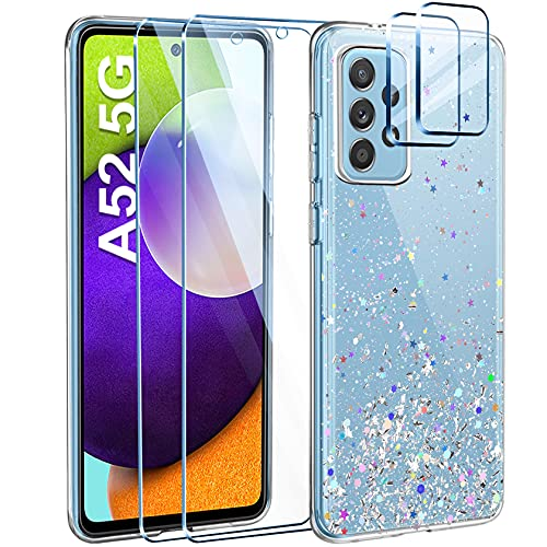 Leathlux Funda para Samsung Galaxy A52 5G+2 Piezas Cristal Templado Protector de Pantalla+2 Piezas Lente de cámara,Purpurina Transparente Silicona Carcasa Anti-caída Anti-arañazos Caso
