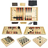 Stemic 5-in-1 Board Games For Adults and Family - Backgammon Set, Chess Board, Checkers, Tic Tac Toe, Sling Puck Game with 10 Pucks, 32 Chess Pieces, 30 Checkers Pieces - Premium Wood, Large, Foldable