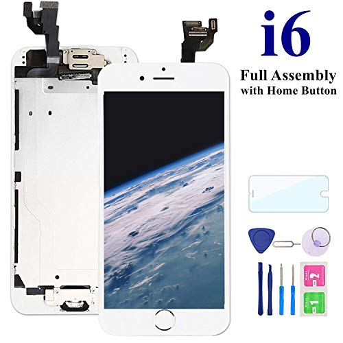 Comfine Screen Replacement for iPhone 6 White with Home Button, LCD Touch Screen Digitizer Replacement Display Assembly Front Camera, Ear Speaker and Sensors, Repair Tools and Screen Protector
