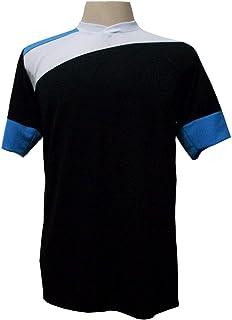 7a20fb26494d2 Jogo de Camisa com 14 unidades modelo Sporting Preto Branco Celeste + 1  Goleiro