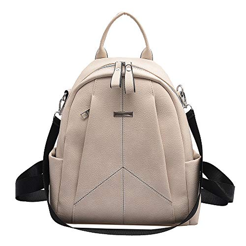 Ladies Double Backpack PU Leather All-Match Casual Backpack, Used for School and University Travel Shopping Outdoor Shoulder Bag