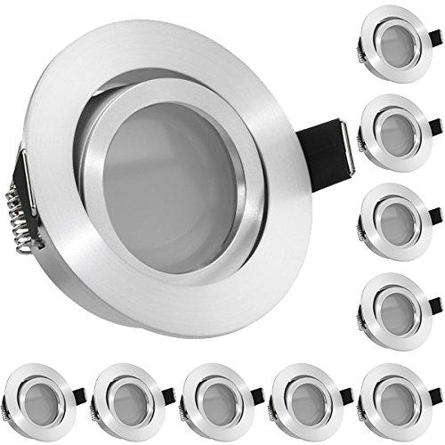 10er LED Einbaustrahler Set Aluminium matt mit LED GU10 Markenstrahler von LEDANDO - 5W - warmweiss - 120° Abstrahlwinkel - schwenkbar - 35W Ersatz - A+ - LED Spot 5 Watt - Einbauleuchte LED