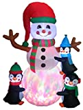 6 Foot Tall Lighted Christmas Inflatable Three Cute Penguins Building Snowman Color LED Lights Outdoor Indoor Holiday Decorations Blow up Yard Giant Lawn Inflatables Home Family Outside Decor