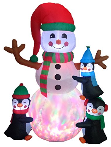 Inflatables Standing Snowman with Cute Penguins Lighted Decoration