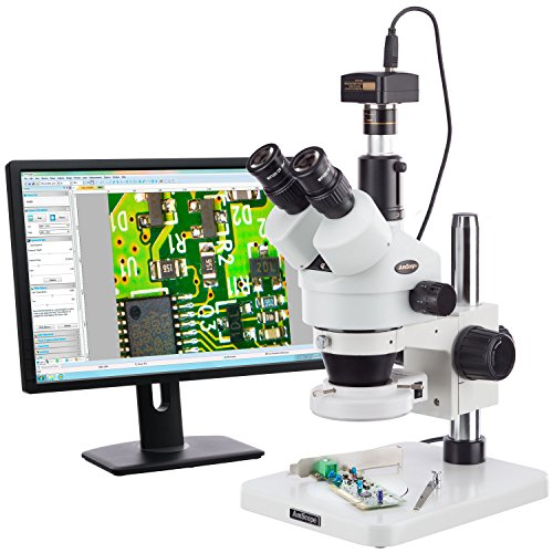 AmScope 7X-45X Surface Inspection 144-LED Zoom Stereo Microscope + 14MP Digital Camera