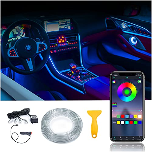 Car Interior LED Strip Light Multicolor 16 Million Colors - Ambiant Lighting for Car QEEDON 4 in 1 Car Strip Light 19.6FT Fiber Optic LED Lights for Car Sound Active Function Wireless APP Control