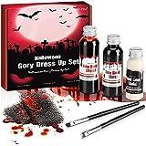 NOWKIN Kit Sangue Finto Professionale (58ml + 48ml) con Lattice Liquido (28ml), Spugna x 2, Pennello x 2 per Trucco Vampiri, Trucco Zombi, Trucco Drammatico
