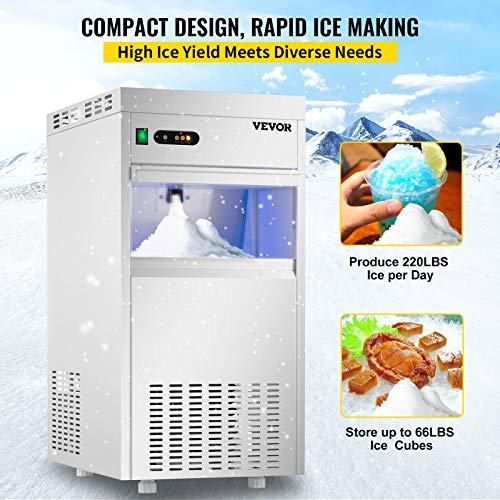 VEVOR 110V Commercial Snowflake Ice Maker 220LBS/24H, ETL Approved, Food Grade Stainless Steel Construction, Automatic Operation, Freeatanding, Water Filter and Spoon, Perfect for Seafood Restaurant
