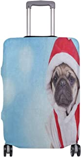 Luggage Cover Cute Pug Puppy Wearing Santa Claus Costume Christmas Travel Case Suitcase Bag Protector 3D Print Design