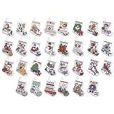 Bucilla - Juego de Punto de Cruz en Tela Aida 14, diseño pequeñas Botas de Papá Noel, 8,89 cm (30 Unidades)