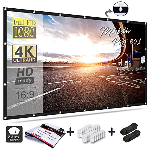 Mdbebbron 120 inch Projection Screen 16:9 HD Foldable Anti-Crease Portable Projector Movies Screen for Home Theater Outdoor Indoor Support Double...