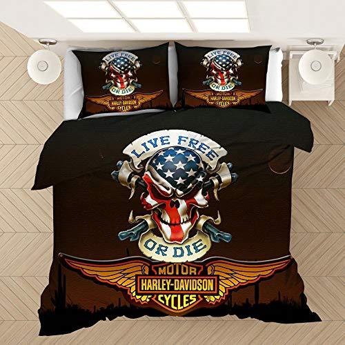 YMYGYR 3D-Druck Harley Bettwäsche mit Musterdruck, Bettbezug und Kissenbezug, weiche und Bequeme Druckbettwäsche für alle Arten von Menschen-D_180 x 210 cm (3 Stück)