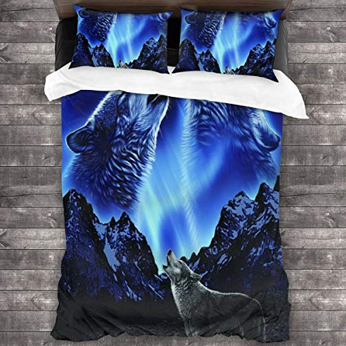 Duvet Cover Set 3 PCS,The Wolf Howls At The Moon At Night,Bedding Duvet Cover with 2 Pillowcases(King 220x230cm)