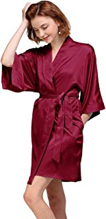 Women's Silky Robe, Satin Kimono Bathrobe for Wedding Party Brides Bridesmaids Loungewear