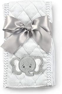 Bearington Baby Lil' Spout Gray Elephant Burp Cloth, 14