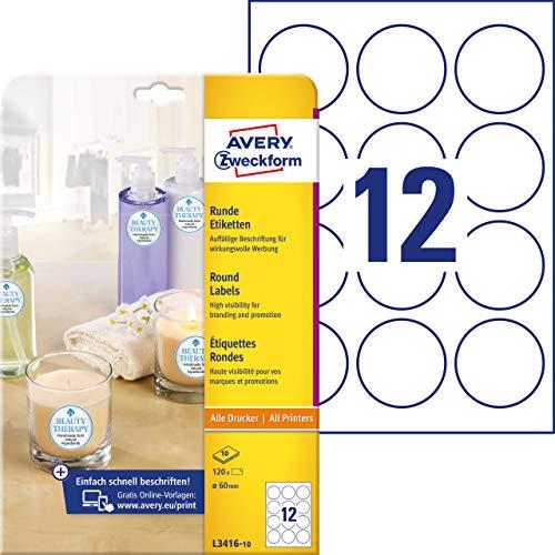 AVERY Zweckform Runde Etiketten L3416-10 (120 Aufkleber auf 10 Blatt, zum Bedrucken, selbstklebend, Ø 60 mm, A4, Klebepunkte zum Kennzeichnen von Unterlagen, Produkten) weiß