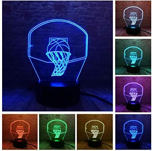 Deportes baloncesto niños luz nocturna luz nocturna 3d 7 luz de mesa de control remoto táctil que cambia de color adecuada para la decoración del hogar regalo personalizado de cumpleaños de Navidad