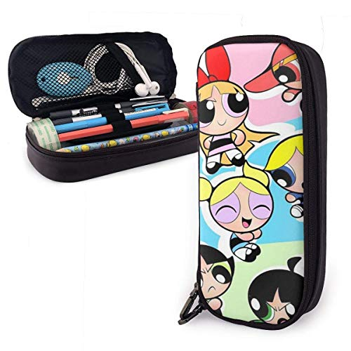 Federmäppchen Powerpuff Girls Big Capacity Pencil Bag Make-up Pen Pouch Briefpapier mit doppeltem Reißverschluss Stifthalter für Schulbüro ~ B7