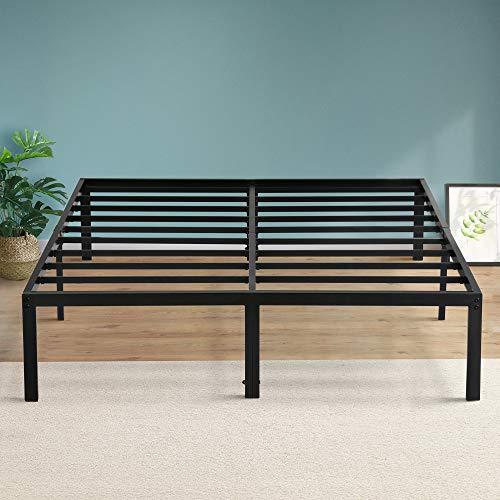 PrimaSleep Platform 14 inch Dura Metal Steel Slate Bed Frame/Noise Free, King, Black