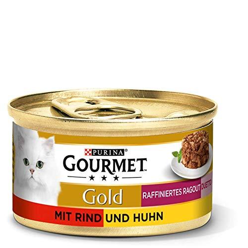 PURINA GOURMET Gold Raffiniertes Ragout Duetto Katzenfutter nass, Rind und Huhn, 12er Pack (12 x 85g)