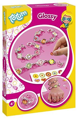 CREATIVITY- Kit di Artigianato Glossy: Crea i Tuoi Anelli e Braccialetti di Collegamento con Charms, Adesivi, Colore, 029347