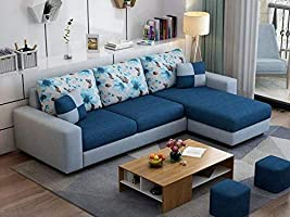 Casaliving - Rolando L Shape Wooden Right Side Sofa for Living Room with 2 Puffy (Grey - Navy Blue)