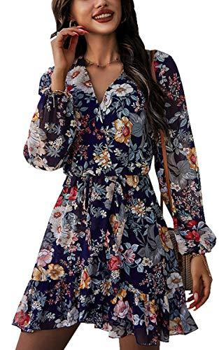 CinShein Womens Casual Dress Long Sleeve V-Neck Short Plain Dress Summer Ruffle Elastic Waist Flowy Swing Dresses Navy Blue Medium