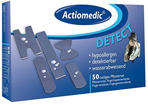 ACTIOMEDIC DETECT Pflasterset I Wasserabweisende und detektierbare blaue Pflaster für die Lebensmittelindustrie in wiederverschließbarer Schachtel I Hypoallergene Pflaster, nachweisbar I 50 Stück