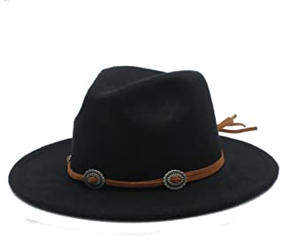 Women's Panama Fedora Wide Brim Hat Men's Wool Jazz Felt Hat Trilby for Ladi
