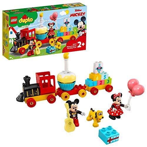LEGO Duplo 10941 Le Train d'Anniversaire de Mickey et Minnie, Jouet Train pour bébé avec Un gâteau et des Ballons