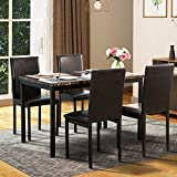 5 Piece Dining Set Metal Dinette Set with Faux Marble Top 4 Dining Chairs Kitchen Dining Room Furniture Set