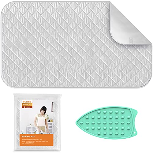 WLLIFE Ironing Mat, Portable Travel Ironing Blanket, Thickened Heat Resistant Ironing Pad Cover for Washer, Dryer, Table Top, Countertop, Small Ironing Board, Gift Silicone Iron Rest Pad (19×33 inch)