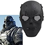 Ecloud Shop 2 Pieces Máscara de Calavera Máscara de Cosplay Esqueleto Máscara Facial Escudo para Fiesta de Juego de Cosplay -Negro