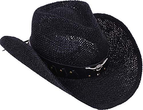 Livingston Men & Women's Woven Straw Cowboy Hat Cowgirl Western Hat Cowgirl Hats Black Cowboy Hat Cow Girl Hat Cowboy Hat Men, Black