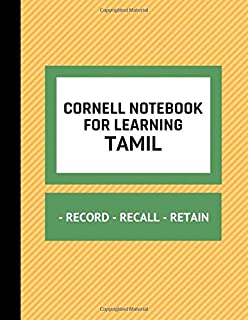 Cornell Notebook For Learning Tamil: Cornell Note Taking Template For Writing Tamil Language Phrases, Words, Alphabet And Translations, Notepad For Education And Travel