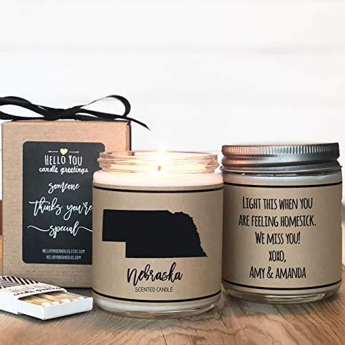 Nebraska Scented Candle, State Scented Candle, Personalized Soy Candle, Nebraska Lover Gift