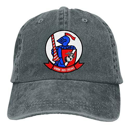 Unisex VMM-365 Blue Knights Insignia Vintage Washed Distressed Cotton Baseball Cap Adjustable Denim Dad Hat