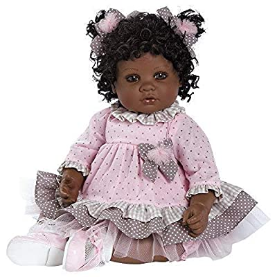 """Adora Toddler African American AA Realistic Weighted Girl Doll Gift Set For Children 6+ Huggable Vinyl Cuddly Snuggle Soft Body Toy Curls of Love 20"""""""